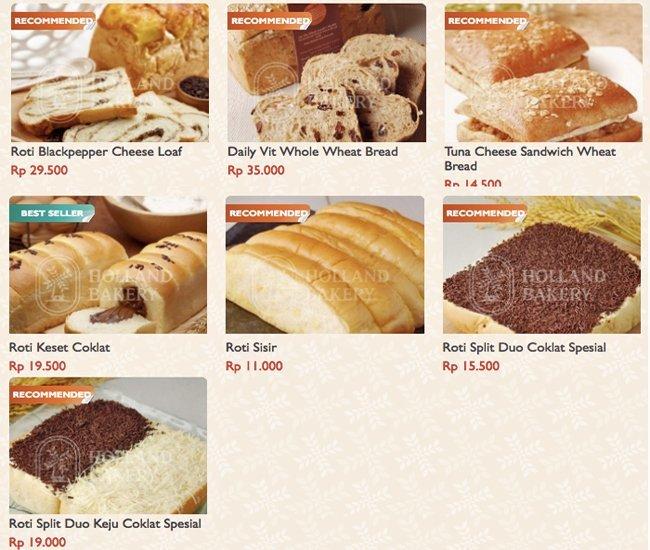 Holland Bakery Menu