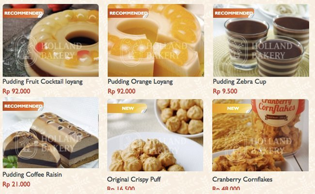 Holland Bakery Menu