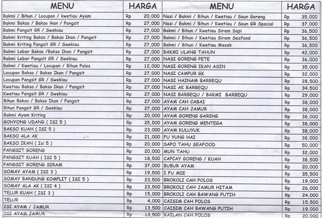 Daftar Harga Bakmi Gang Kelinci