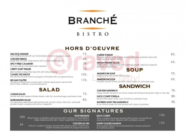 Daftar Harga MenuBranche Bistro