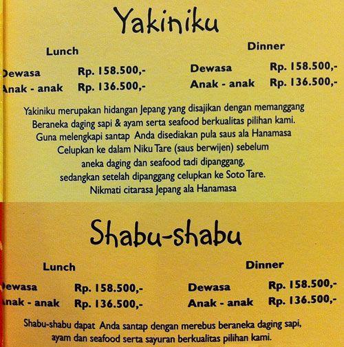 Harga Makan di Hanamasa