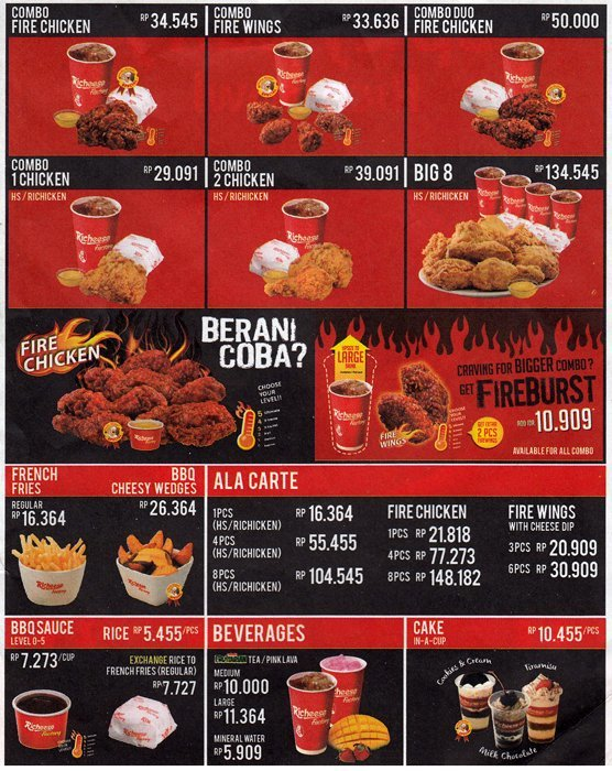 Harga Menu Richeese Factory