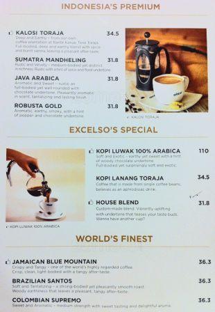 harga menu excelso kopi