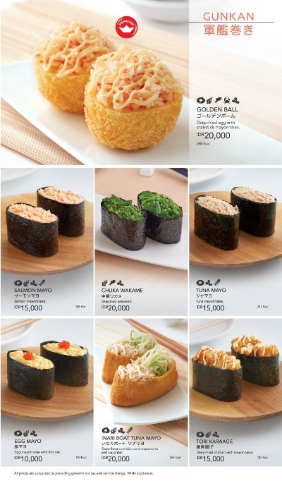 Menu Sushi King - Gunkan