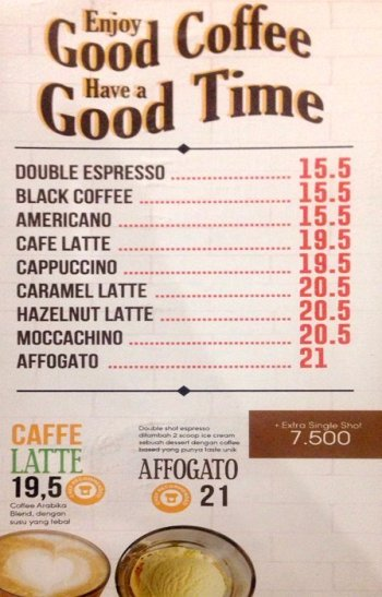 Harga Menu Coffee Warunk Upnormal