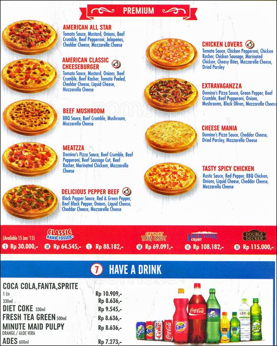 Menu Premium Domino Pizza