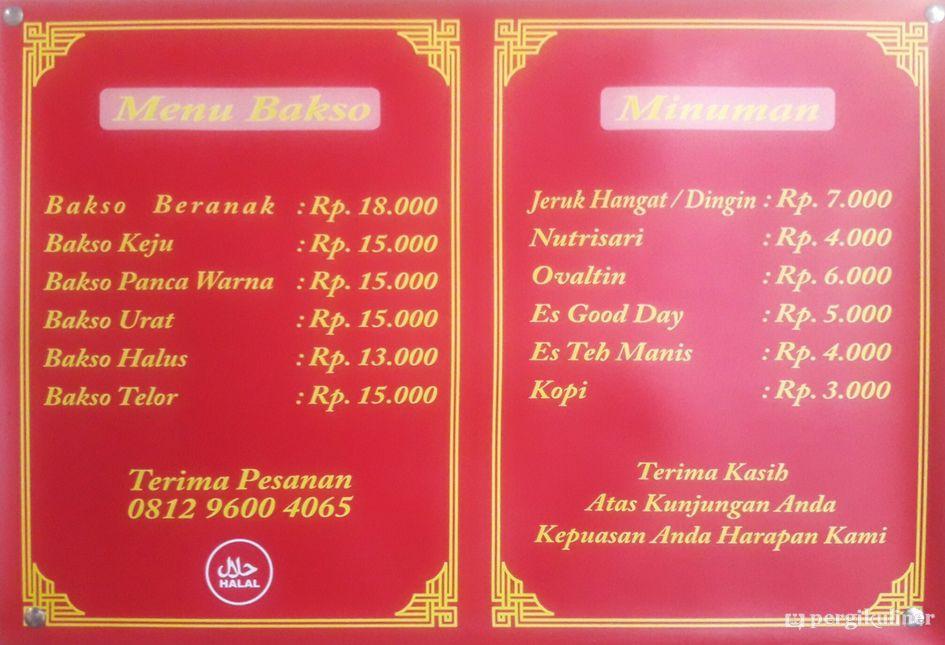 Menu Bakso Beranak Jakarta Mas Gayeng via Pergikuliner