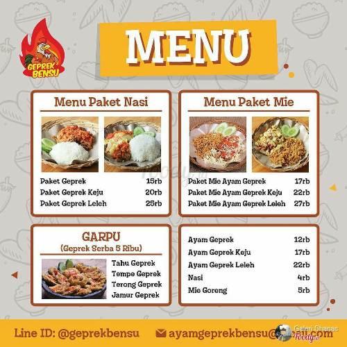 Menu Ayam Geprek Bensu via Foody