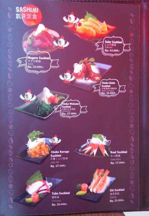 Menu Sashimi Ichiban Sushi