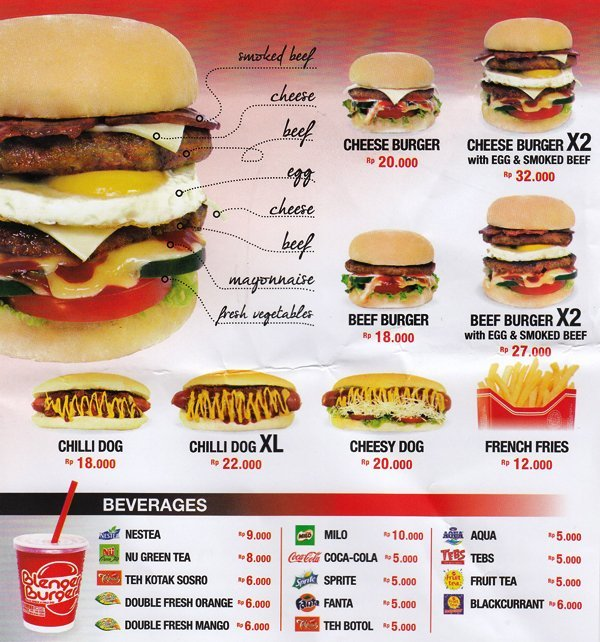 Harga Menu Burger Blenger