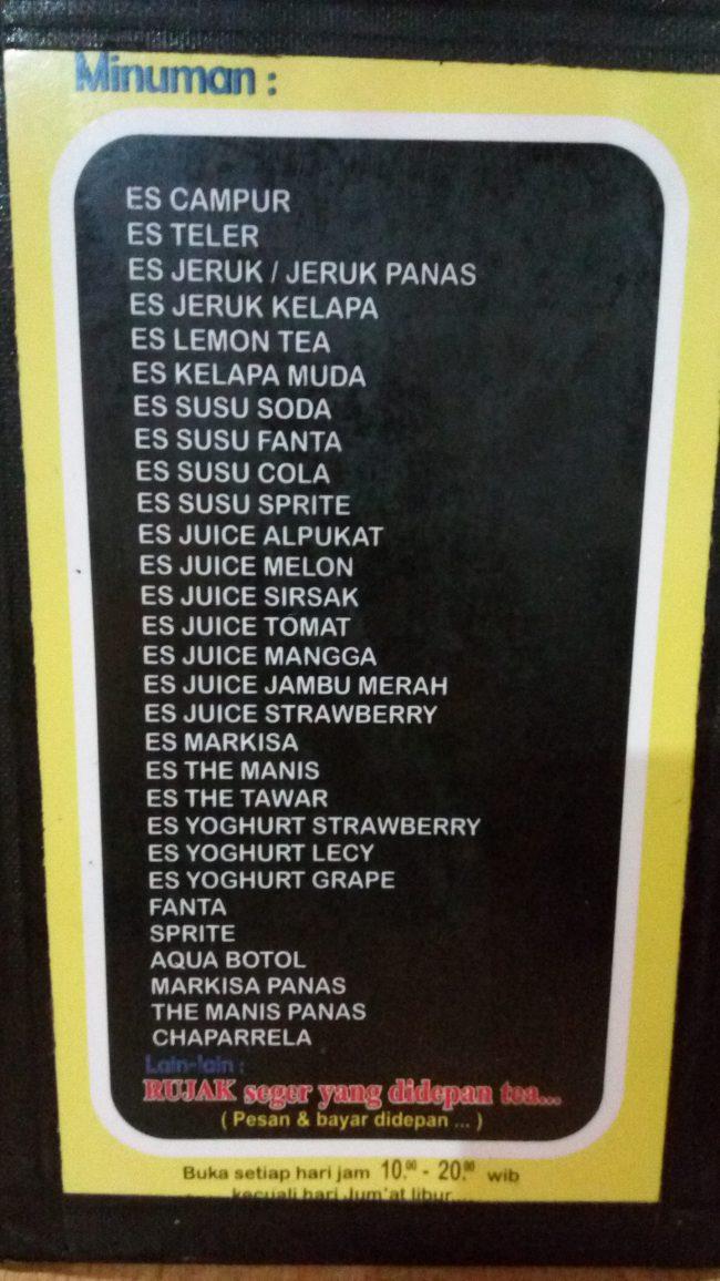 Daftar Minuman di Warung Mie Baso Akung