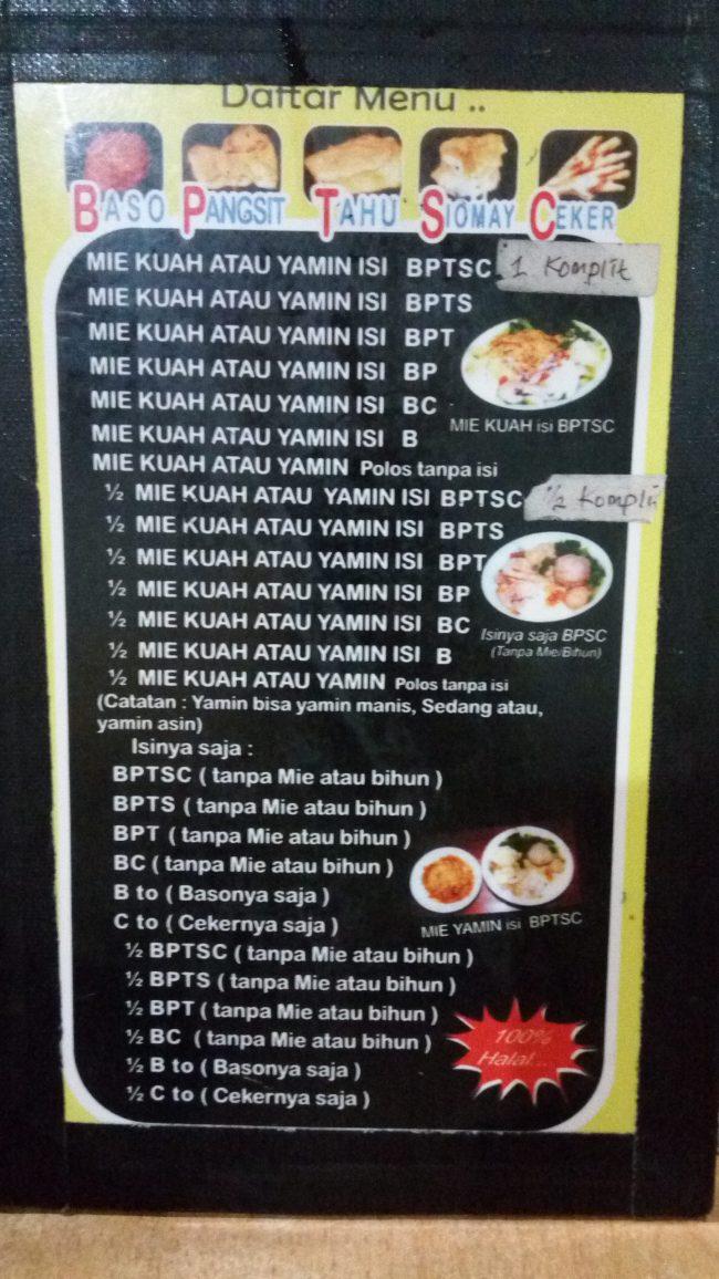 Daftar Menu di Warung Mie Baso Akung