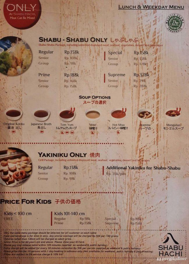 Menu Lunch & Weekday Shabu Hachi via Pergikuliner
