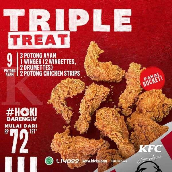 Promo KFC periode 5-9 Februari 2021, Triple Treat mulai dari Rp 72.727