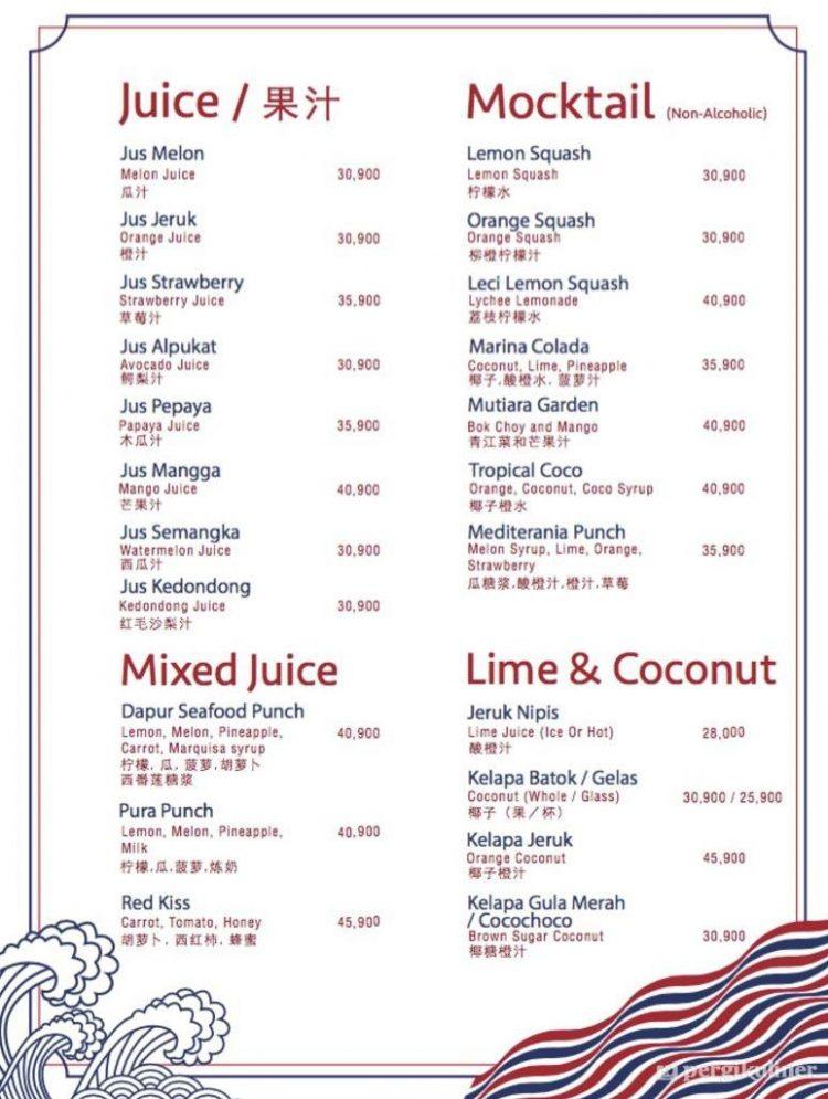 Harga Menu Minuman via Pergi Kuliner